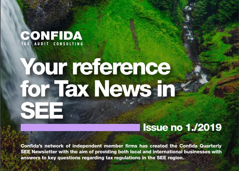 Vaša referenca za porezne novosti u SEE: Izdanje br. 1/2019