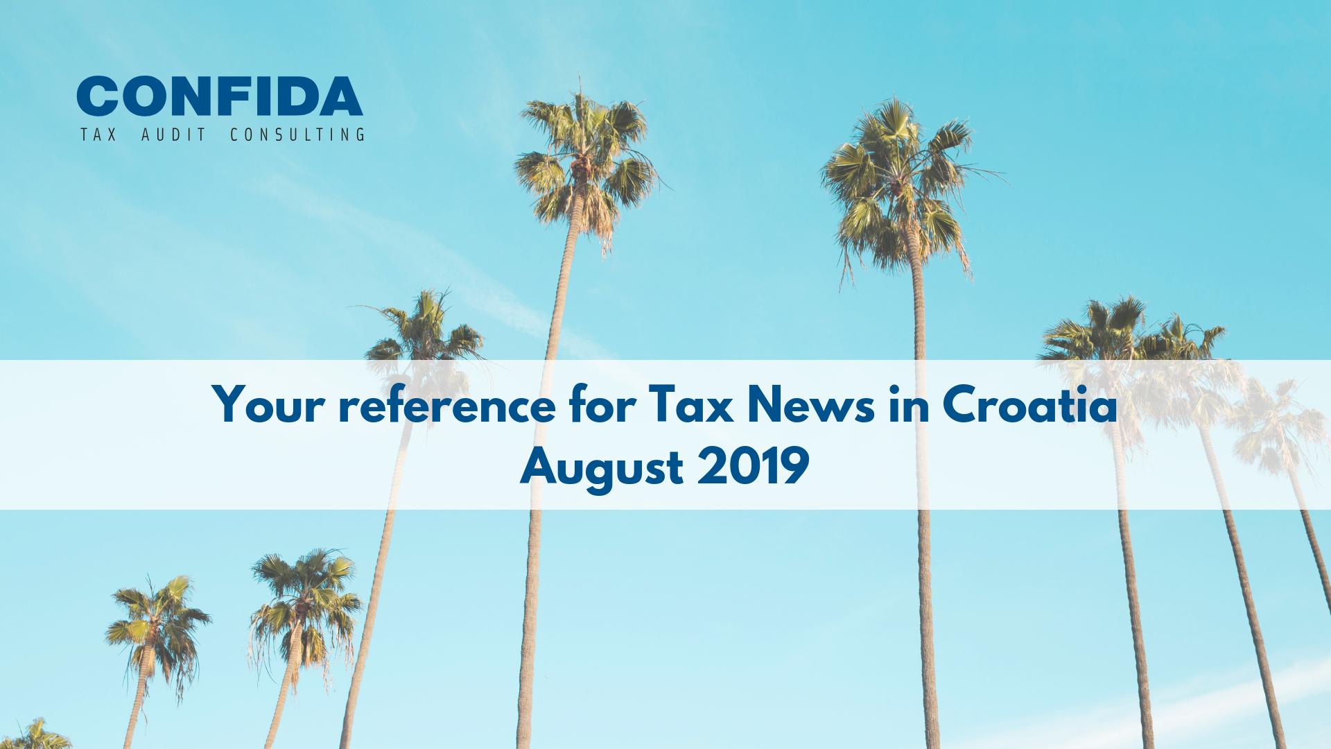 Kolovoz 2019: Vaš referent za porezne novosti u Hrvatskoj