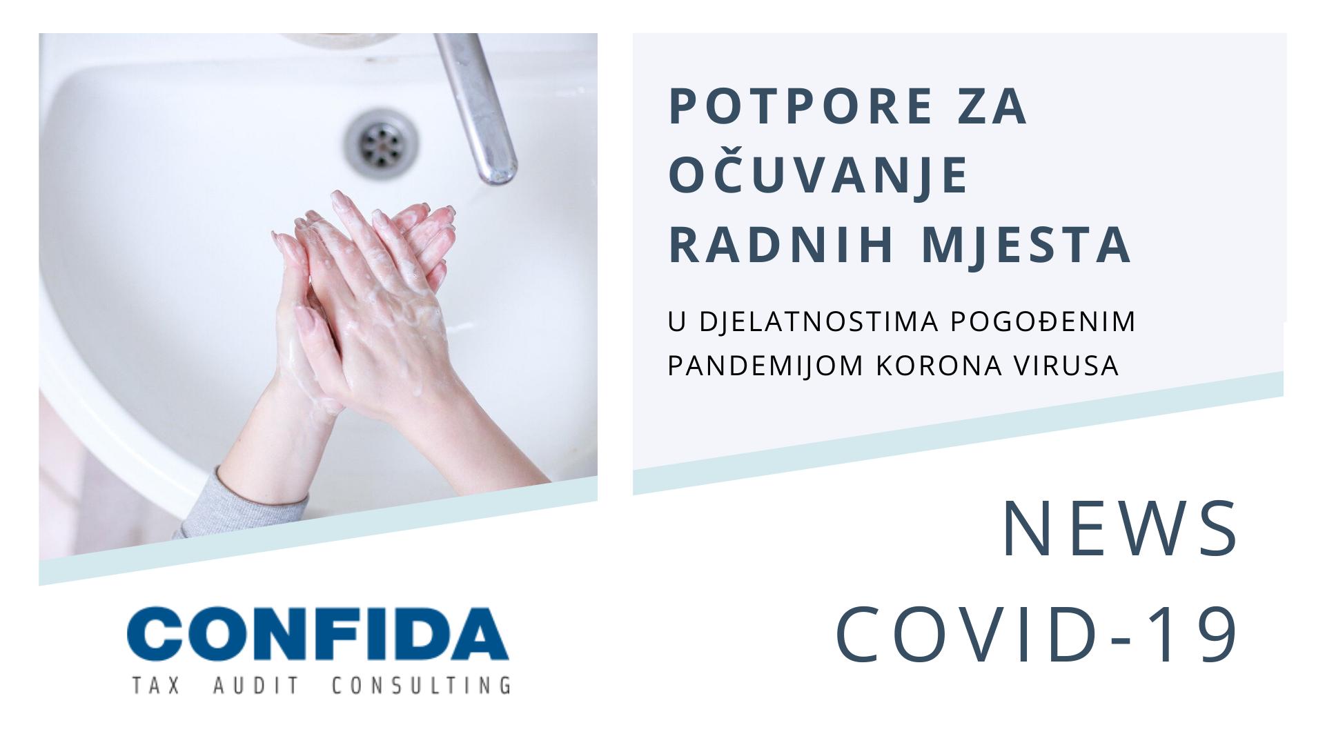 COVID 19: Potpore za očuvanje radnih mjesta u djelatnostima pogođenima epidemijom Koronavirusa