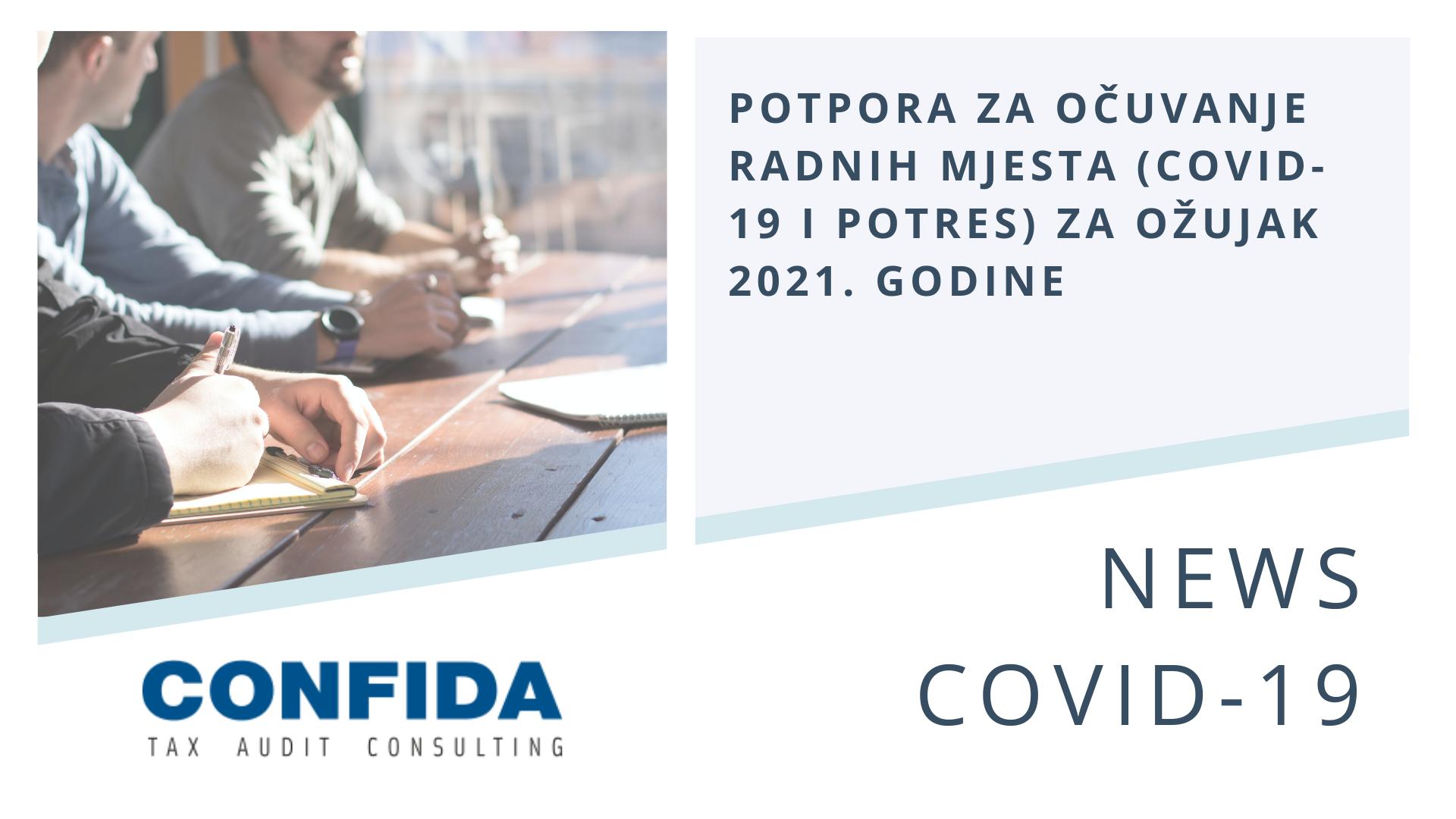 Potpora za očuvanje radnih mjesta (COVID-19 i potres) za ožujak 2021. godine