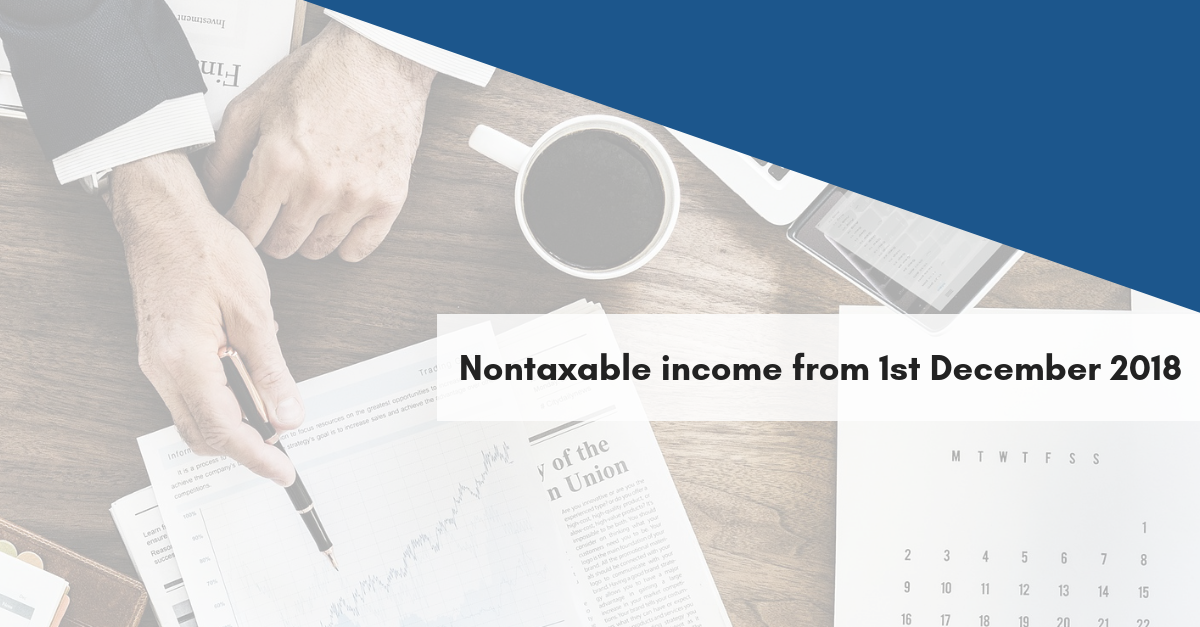 Nontaxable income from 1st December 2018